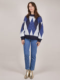 Noela Blue and White Geometric Jumper