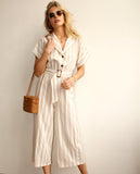 Norah Stripy Jumpsuit With Tie Belt Beige/Ivory