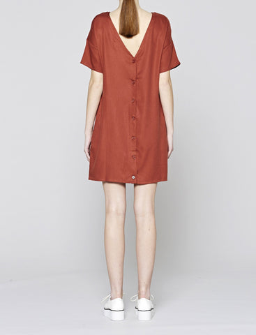 Tencel T-Shirt Dress Button Back