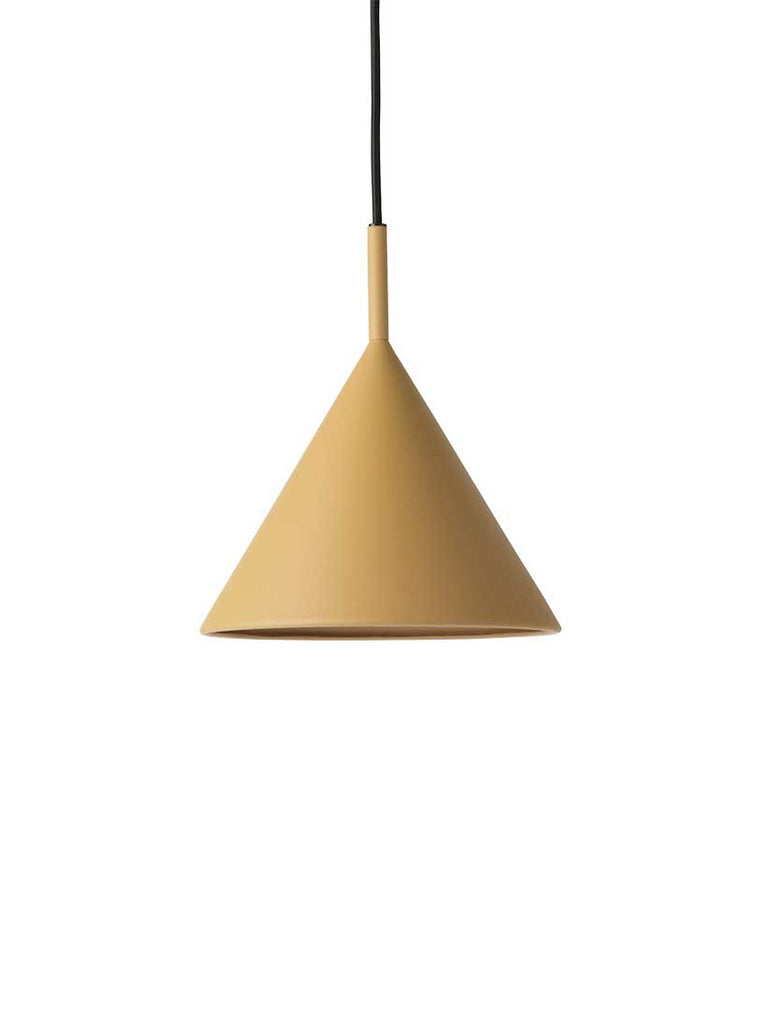 Metal Triangle Pendant Light in Matt Ochre