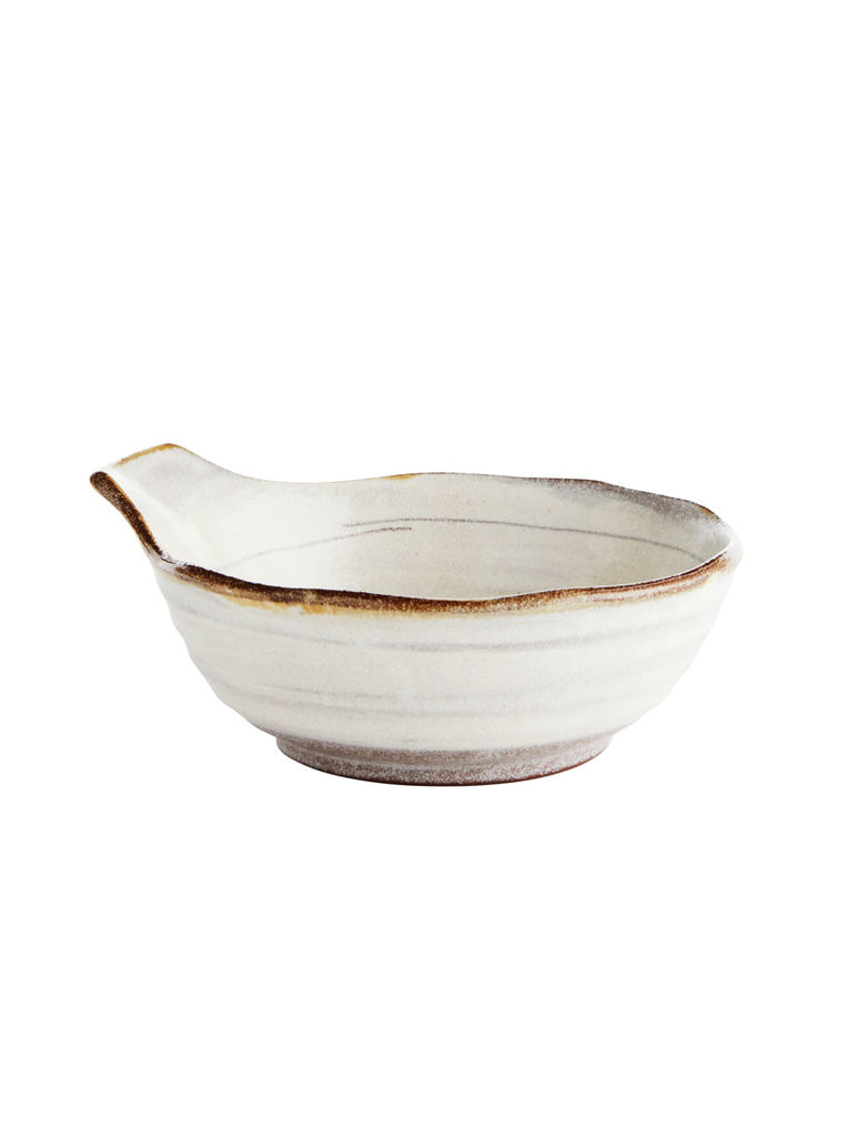 Medium Off White Stoneware Bowl