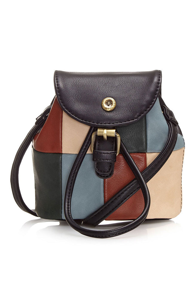 Black mini duffel bag with mixed colour patches