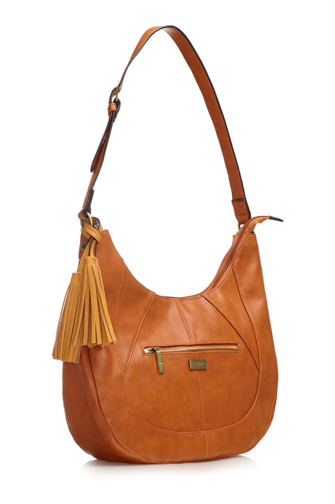 Soft and slouchy over the shoulder tan bag