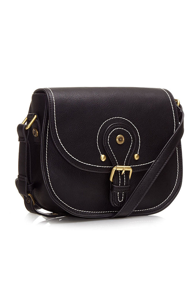 Black Ollie & Nic saddle bag with white contrast stitching.