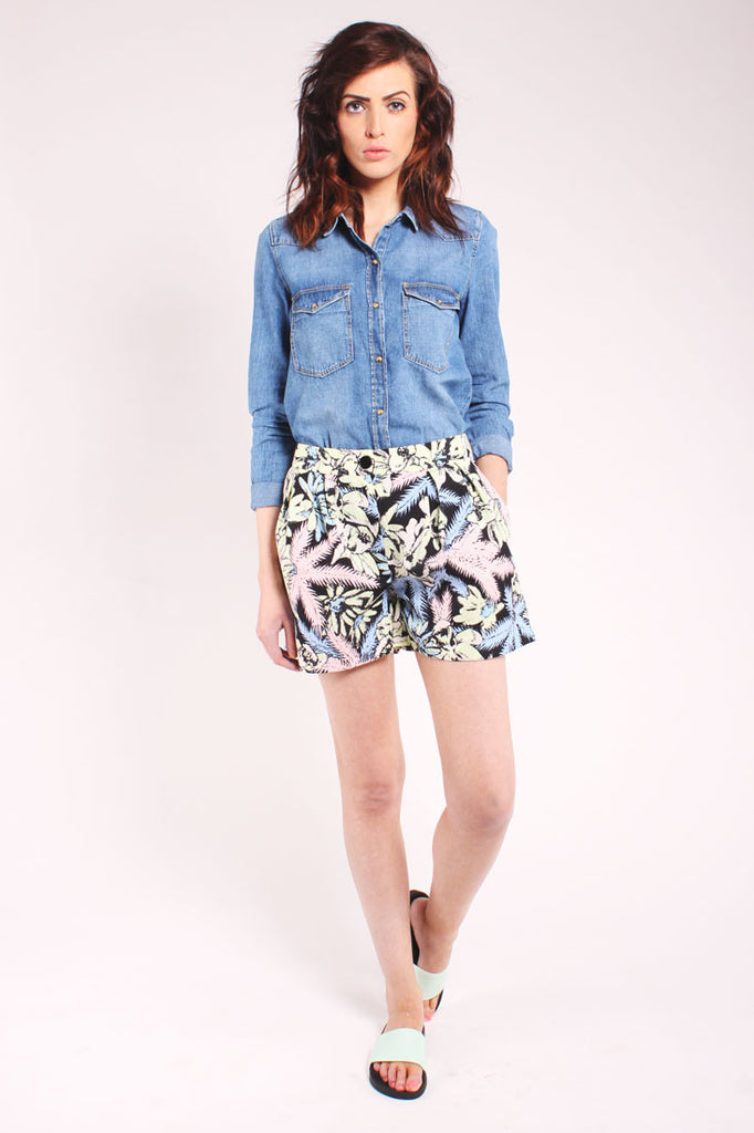 Lightweight tropical print shorts