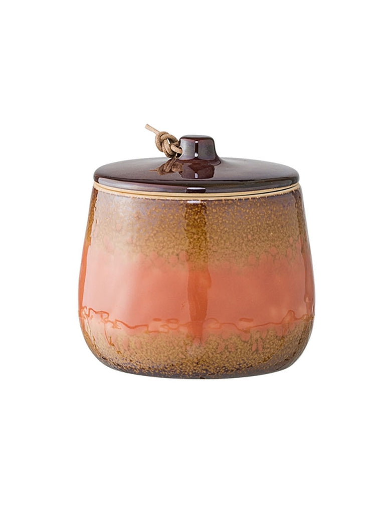 Jar with Lid, Orange Stoneware