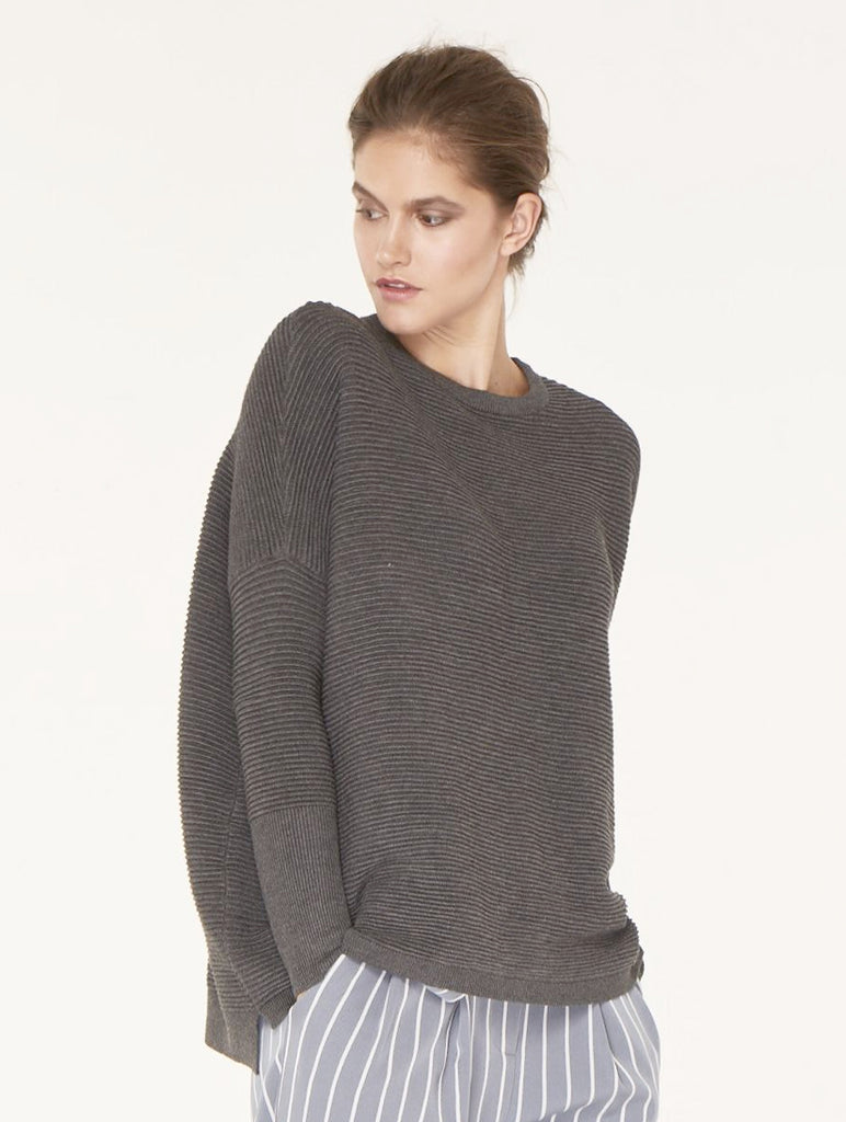 Ribbed Jumper with side splits Charcoal
