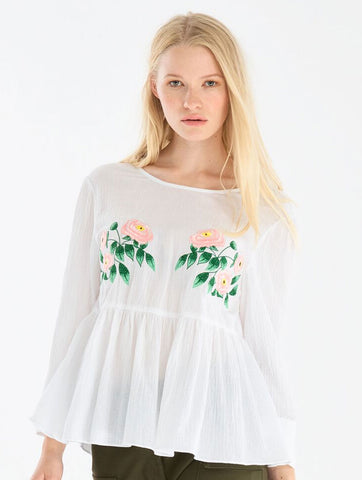 Embroidered Floral Top with Peplum Hem