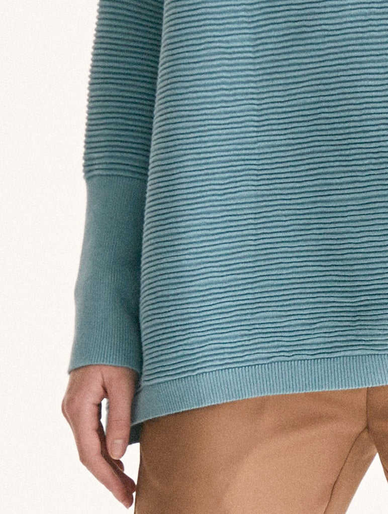 Ribbed Jumper With Side Splits Teal
