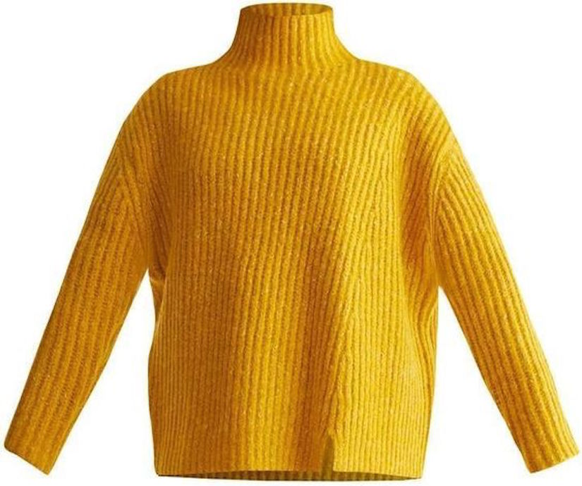 Funnel Neck Chunky Knit Jumper Yellow Marl