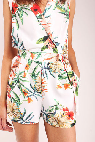 Palm Print V Neck Playsuit