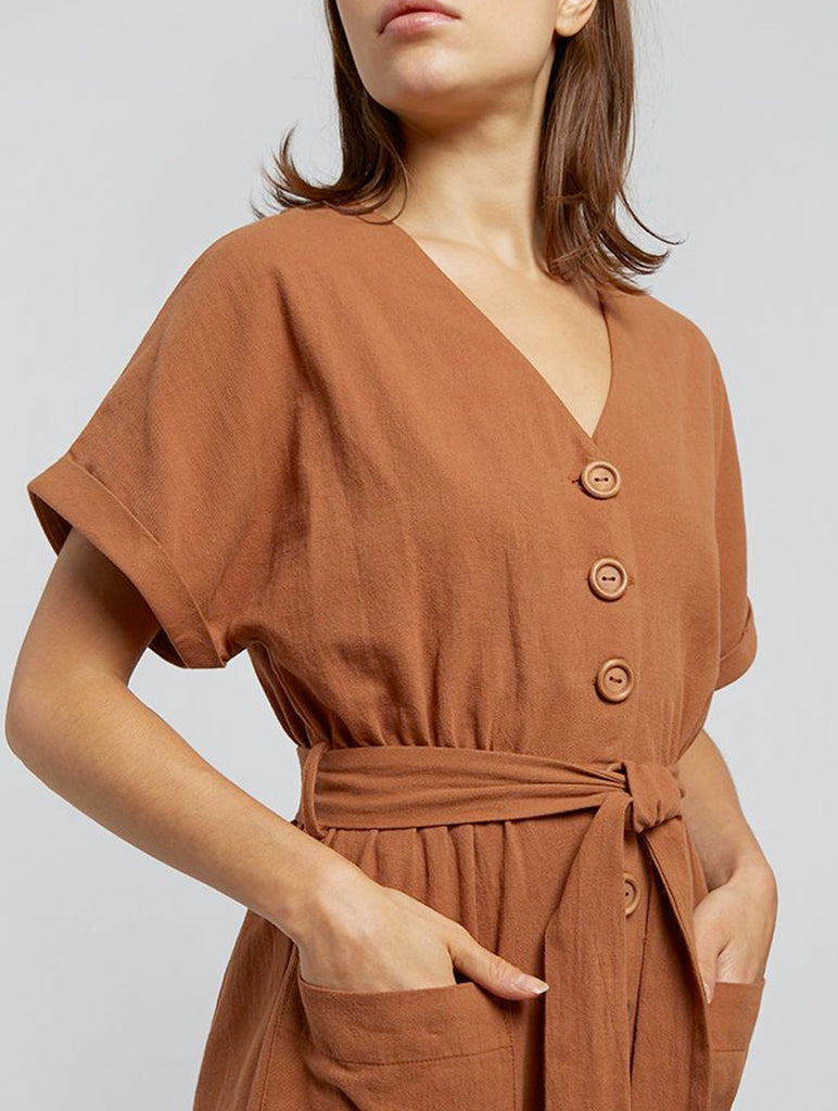 Percy Wooden Button Jumpsuit Rust