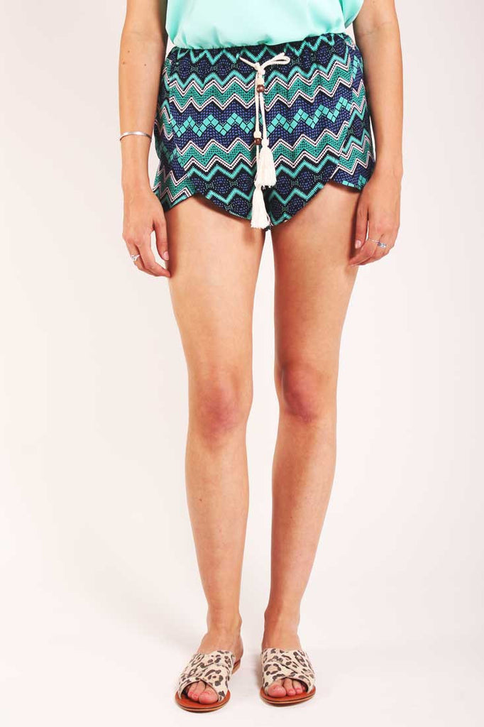 zig zag print turquoise shorts Valley of the Dolls