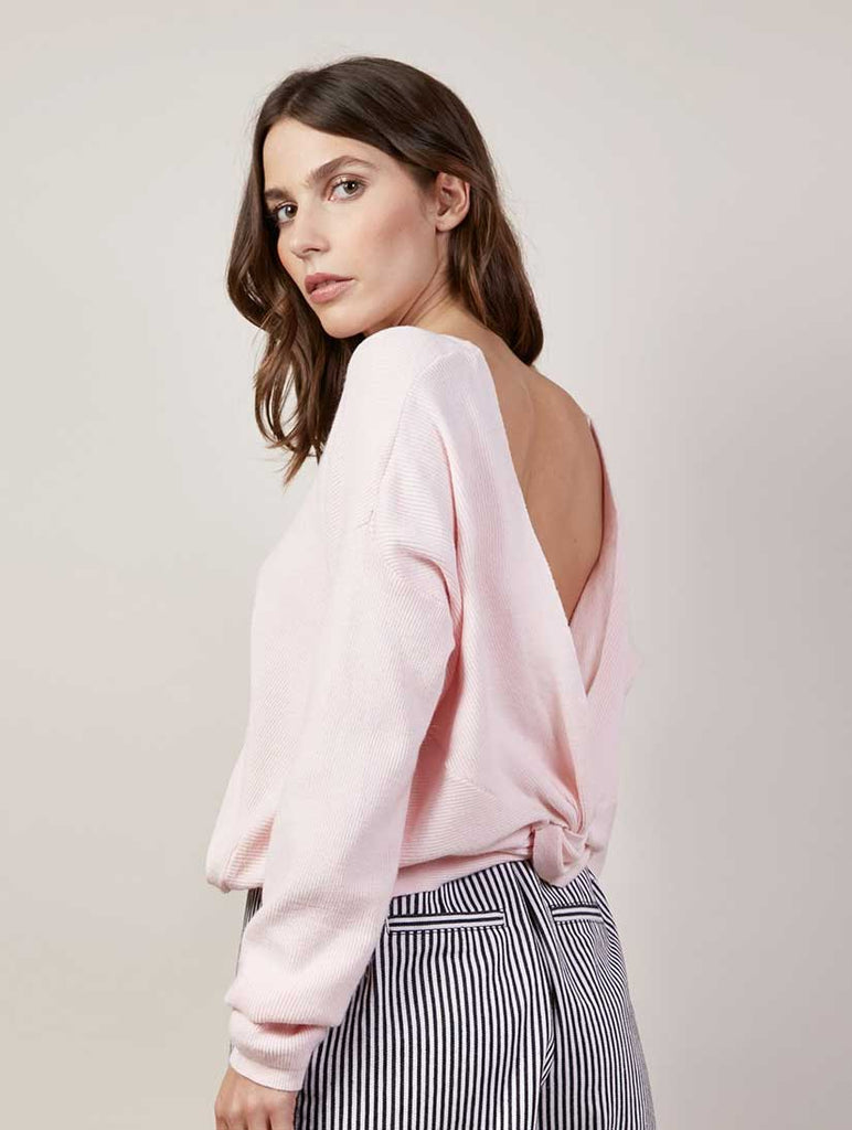 Pink Knot Back Sweater