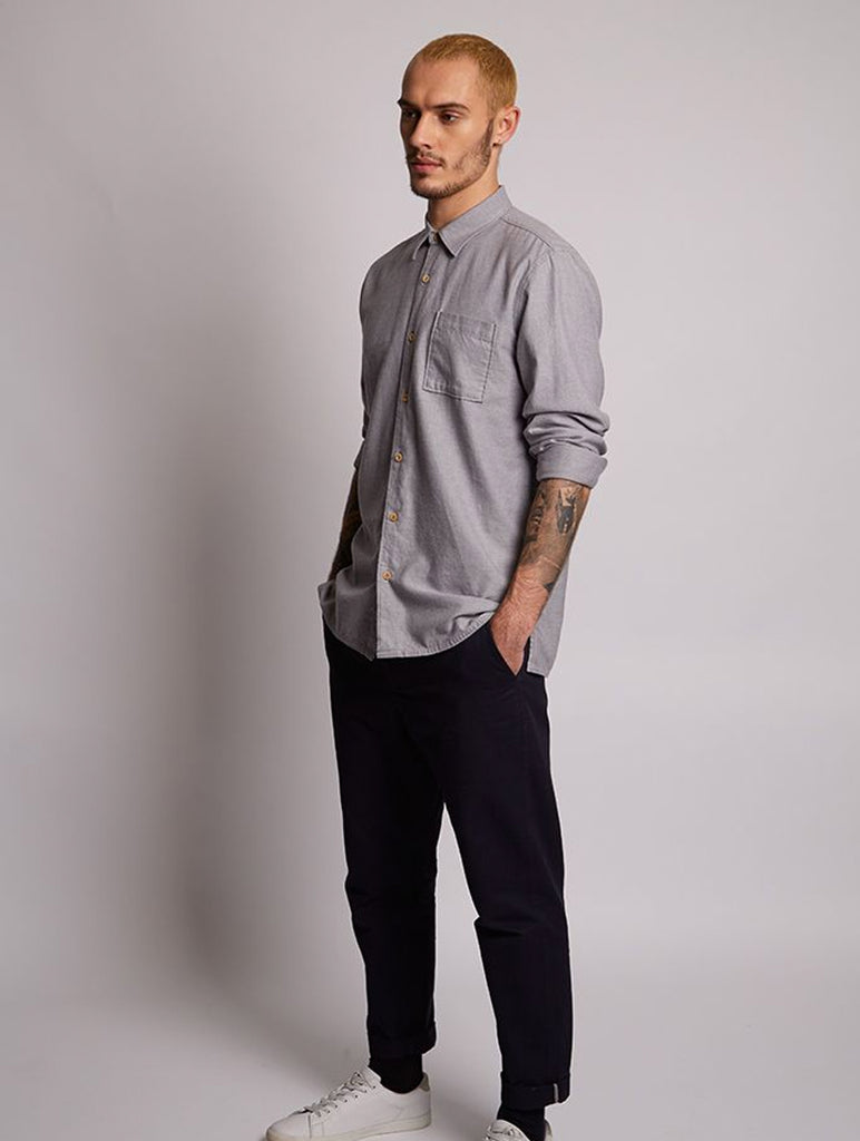Piranha Brushed Twill Shirt Grey