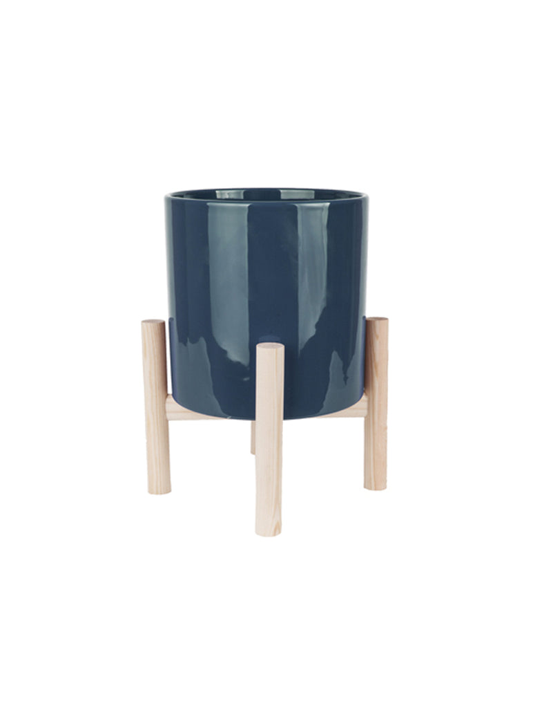 Trestle Ceramic Plant Pot Dark Blue