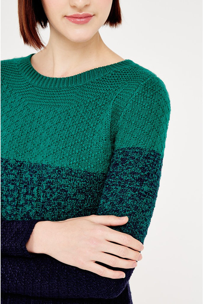 Green and navy ombre knit dress