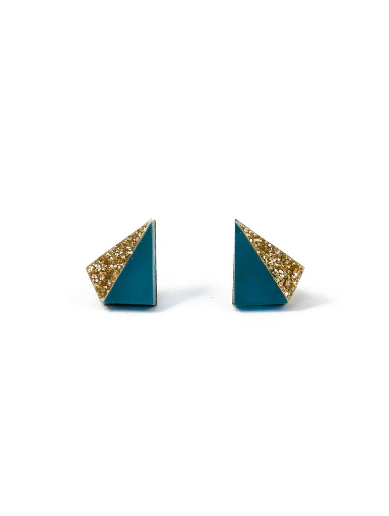 Little Pyramid Studs Teal and Gold Glitter