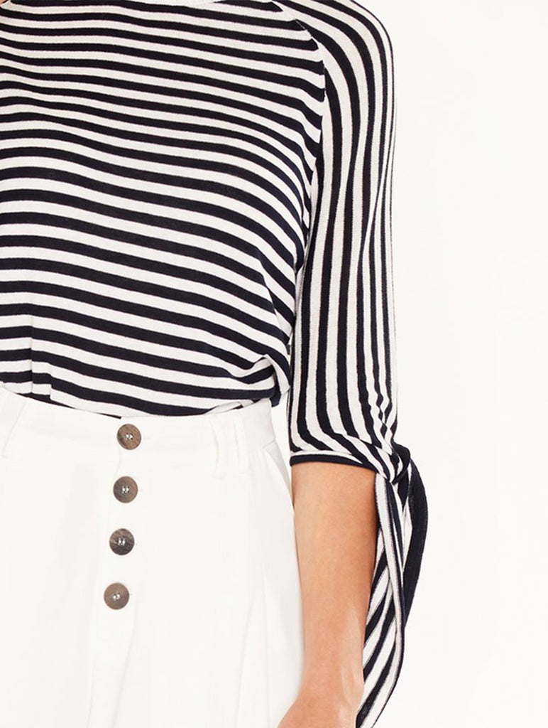 Stripe Raglan Top With Tie Sleeves Navy/White