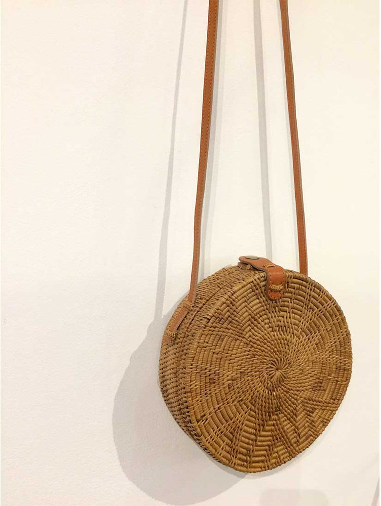 Round Rattan Crossbody Bag With Flower