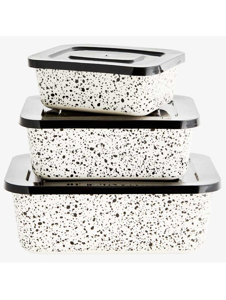 Three Black and White Bamboo Rectangular Containers With Lids