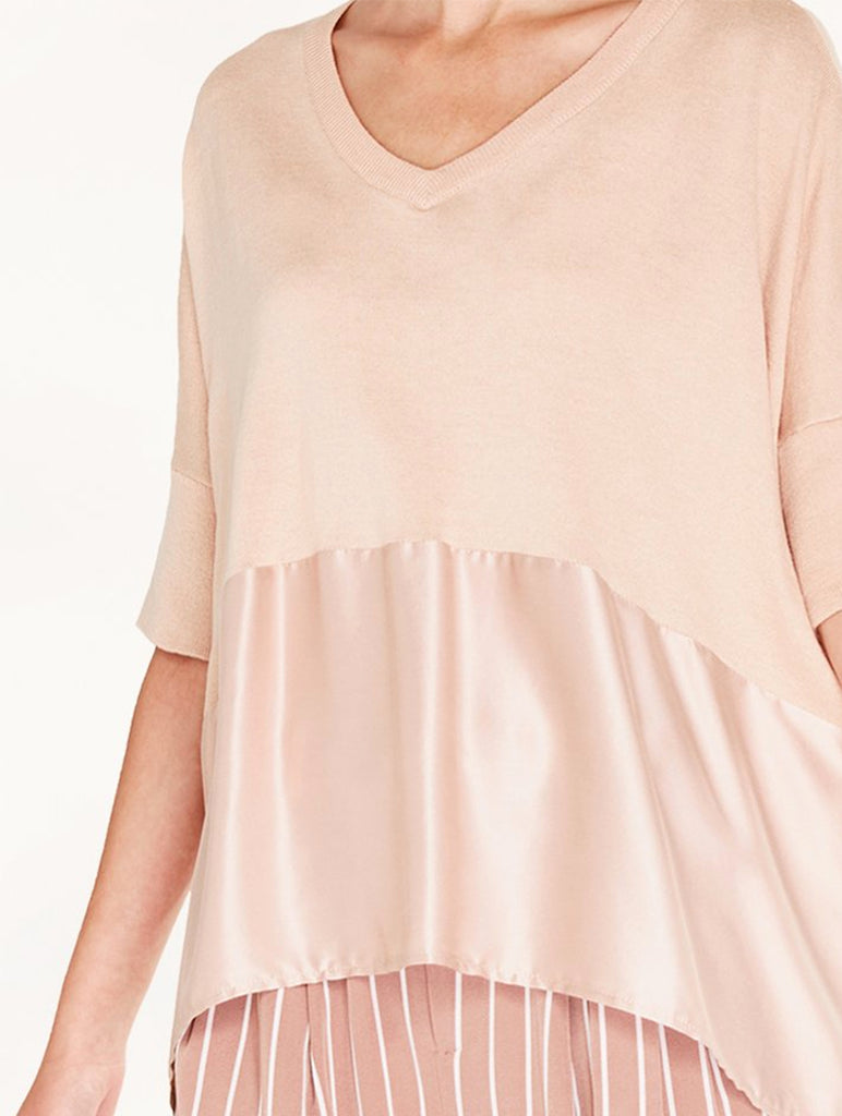 Knitted V-Neck Top with Silk Panel Blush