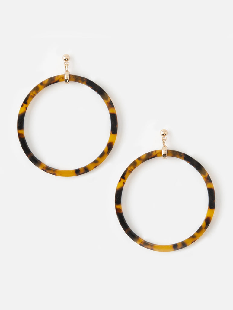 Front Facing Resin Hoop Earrings TortoiseShell