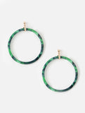 Front Facing Resin Hoop Earrings Green Tortoiseshell