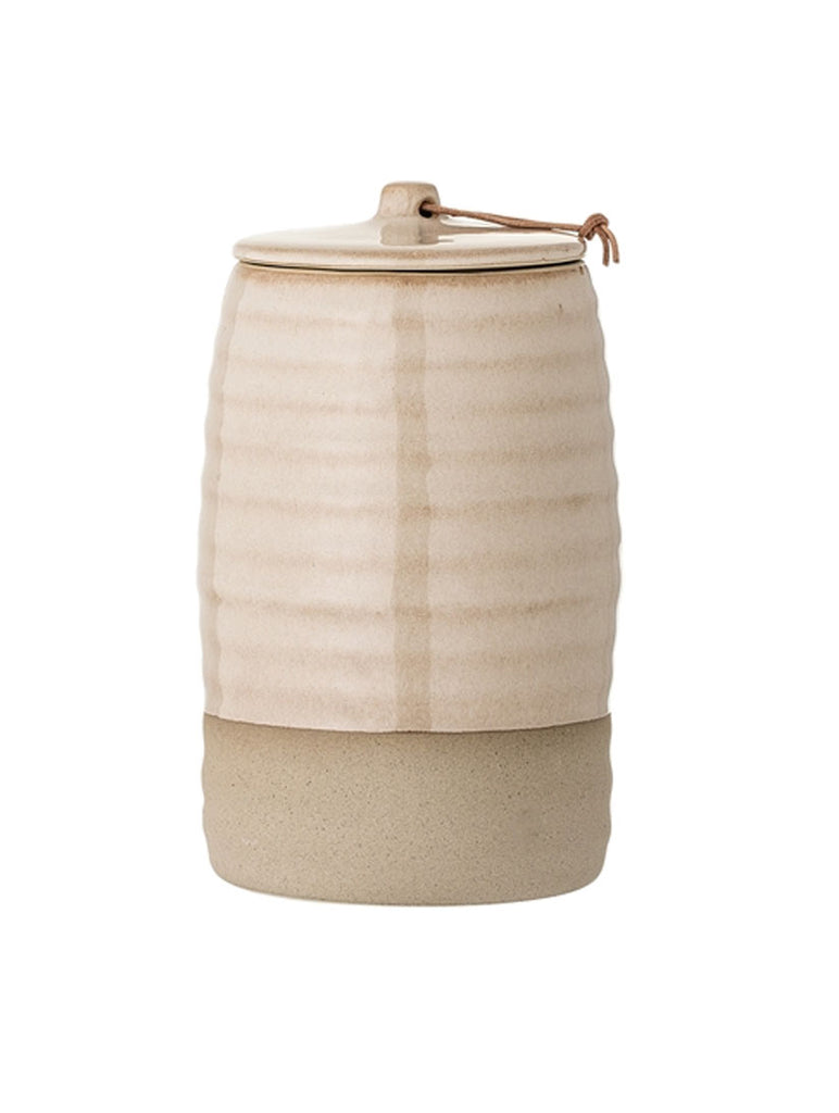 Ribbed Jar With Lid Nature Stoneware