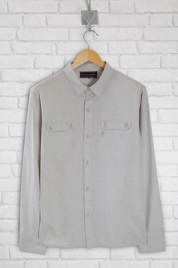 Grey casual shirt in a lightweight chambray fabric