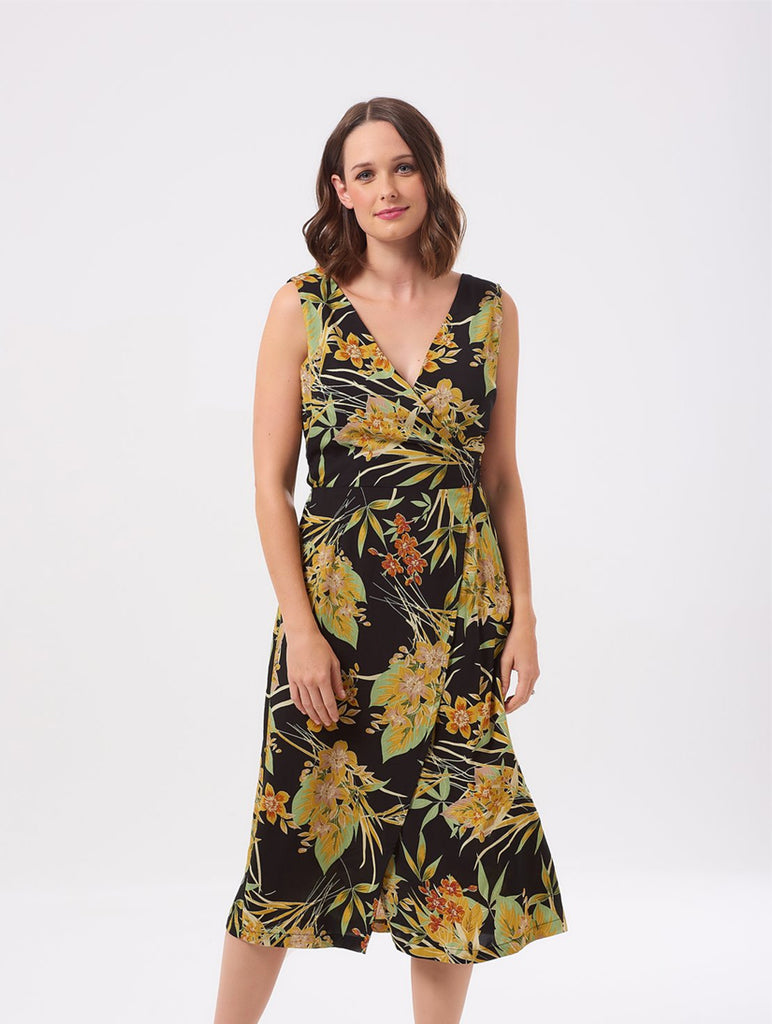Roisin Vintage Hawaiian Print Wrap Dress
