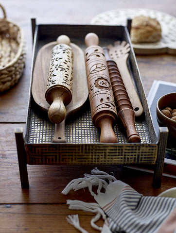 Wooden Grooved Rolling Pin