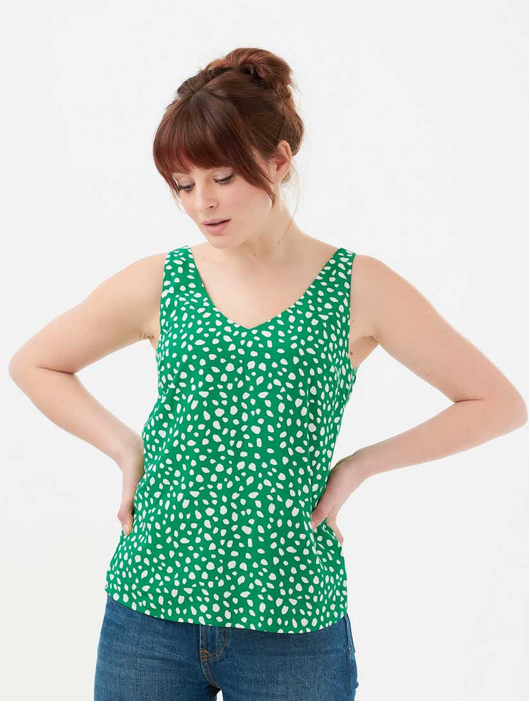 Romy Painterly Spot Strappy Top Green