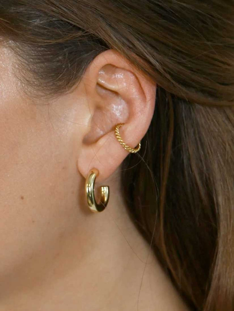 Rope Twist Single Ear Cuff Pale Gold