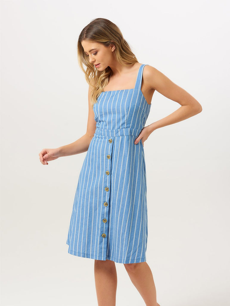 Rosa Chambray Stripe Sundress Blue