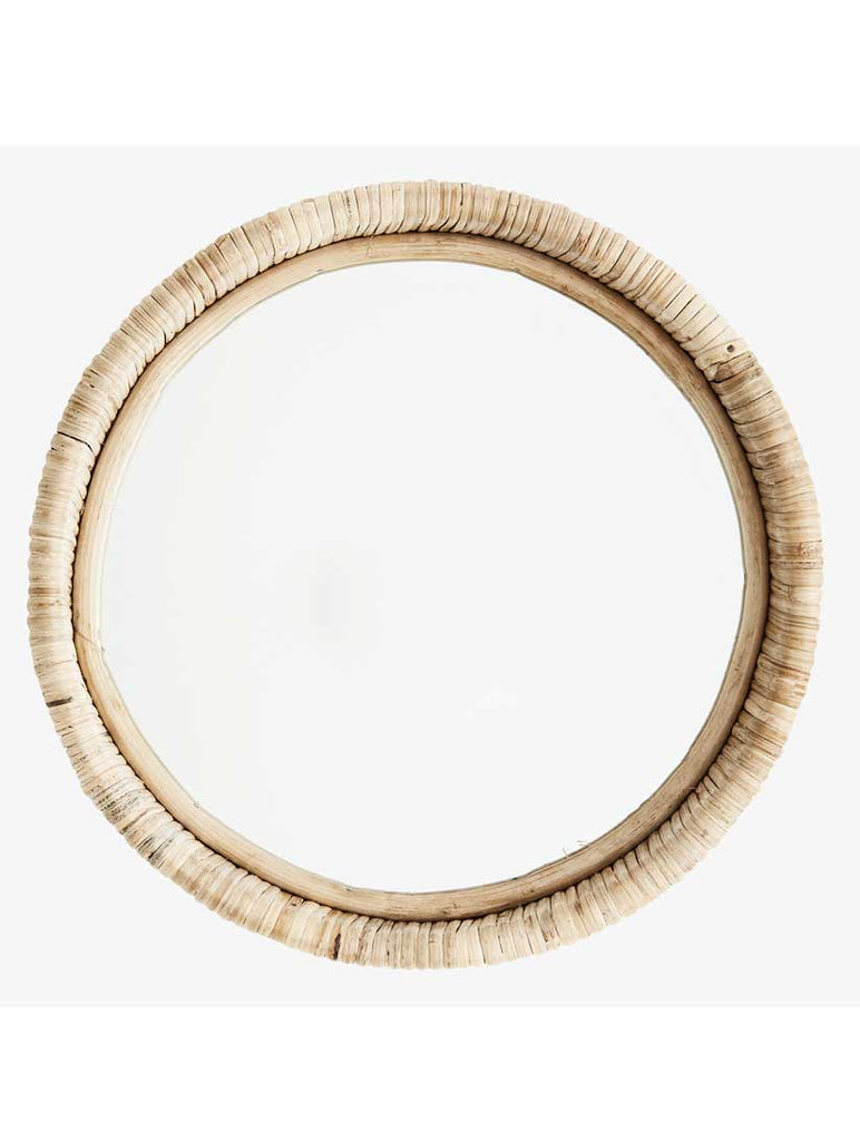 Round Mirror With Bamboo Frame Natural