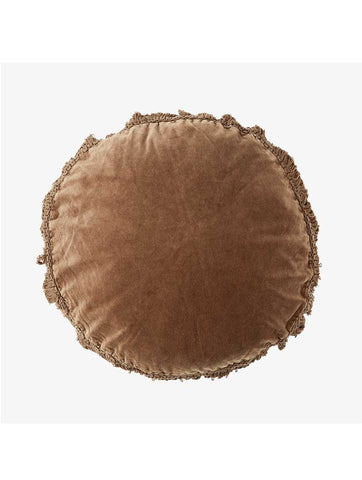 Round Cushion With Fringes Caramel