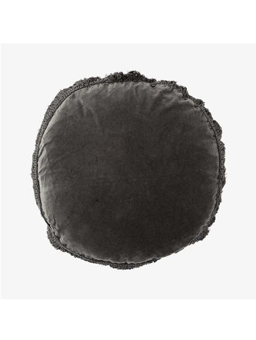 Round Cushion With Fringes Charcoal