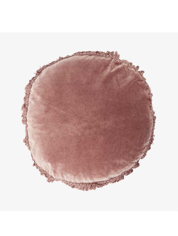 Round Cushion With Fringes Dusty Rose