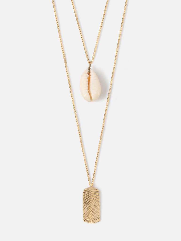 Shell And Palm Layered Necklace Gold