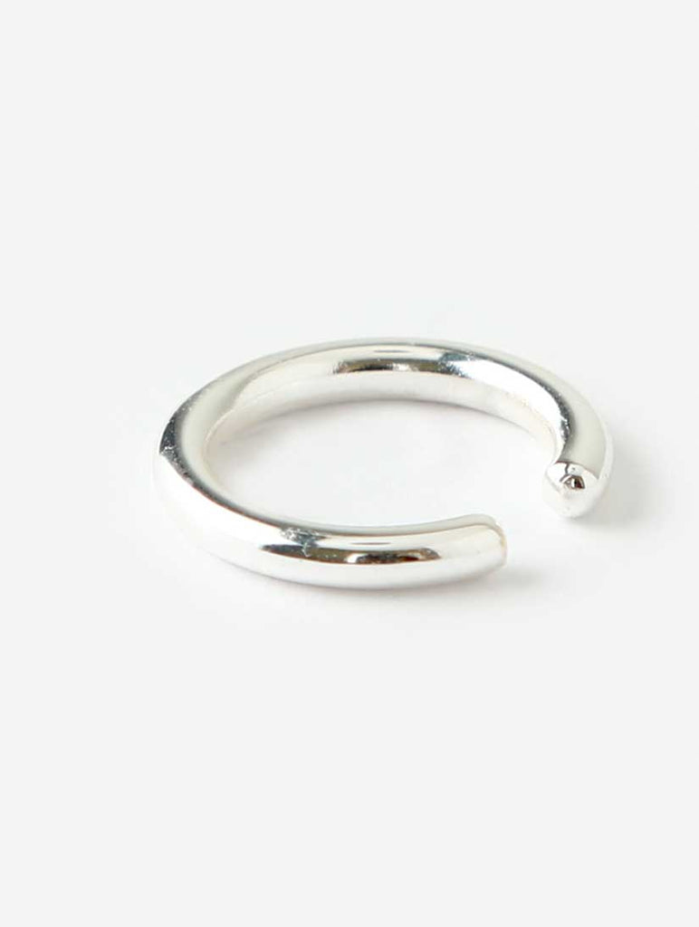 Simple Metal Single Ear Cuff Silver
