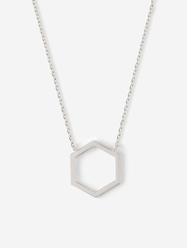Open Hexagon Ditsy Necklace Silver