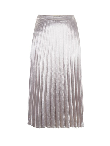 Lynette Metallic Pleated Skirt Silver