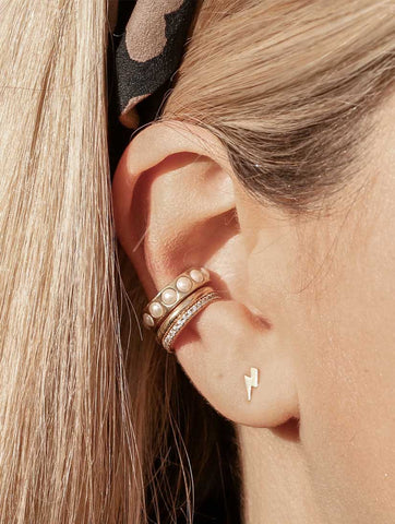 Simple Metal Single Ear Cuff Gold
