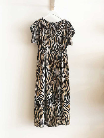Sissel Button Midi Dress Birch Zebra
