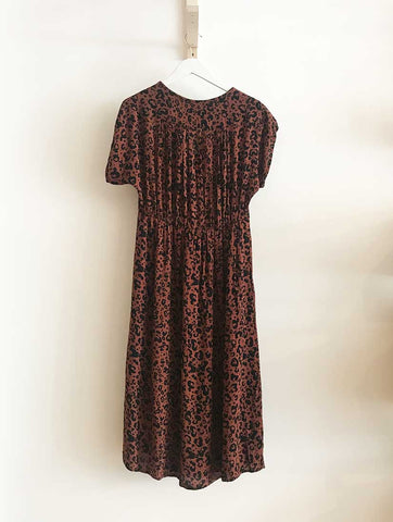 Sissel Button Midi Dress Tortoise Shell Leopard