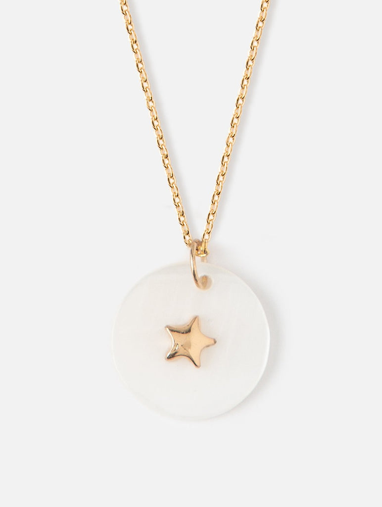 Star Embellished Disc Necklace Mother Of Pearl