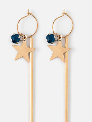 Star and Bar Hoop Cluster Earrings