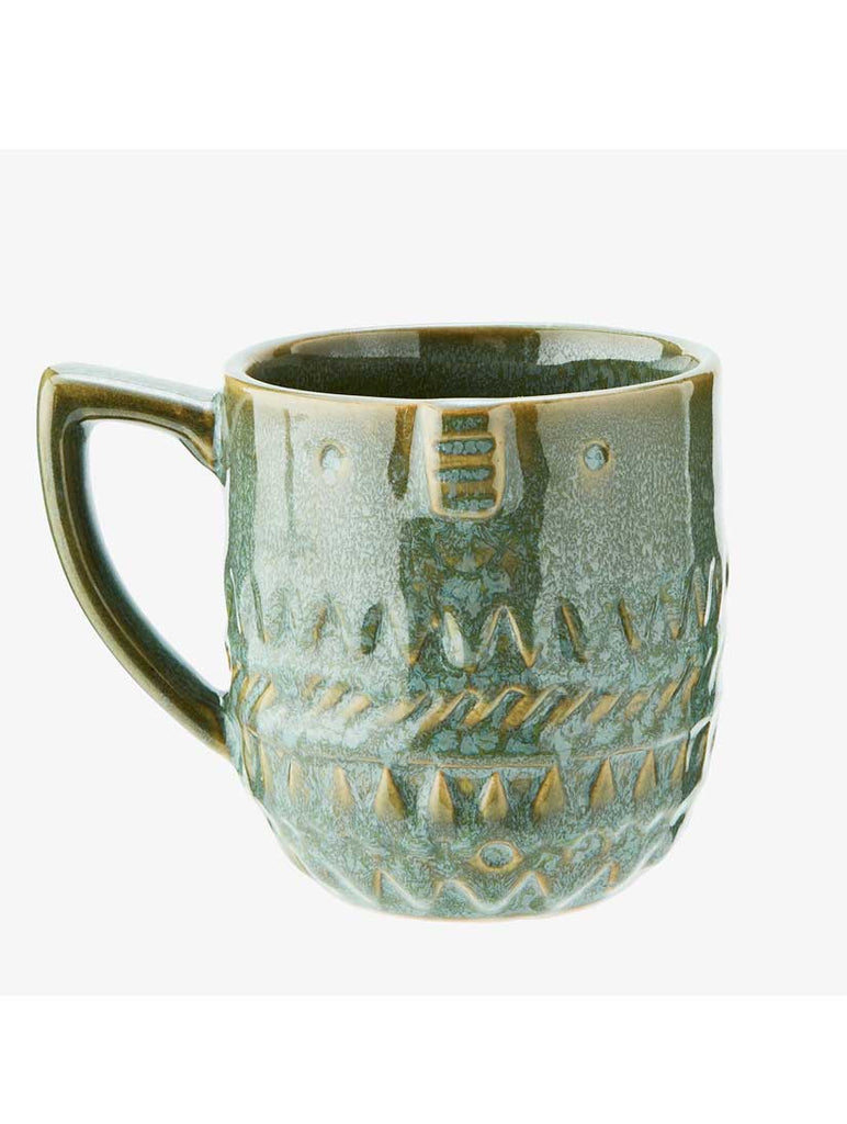 Stoneware Mug with Face Green