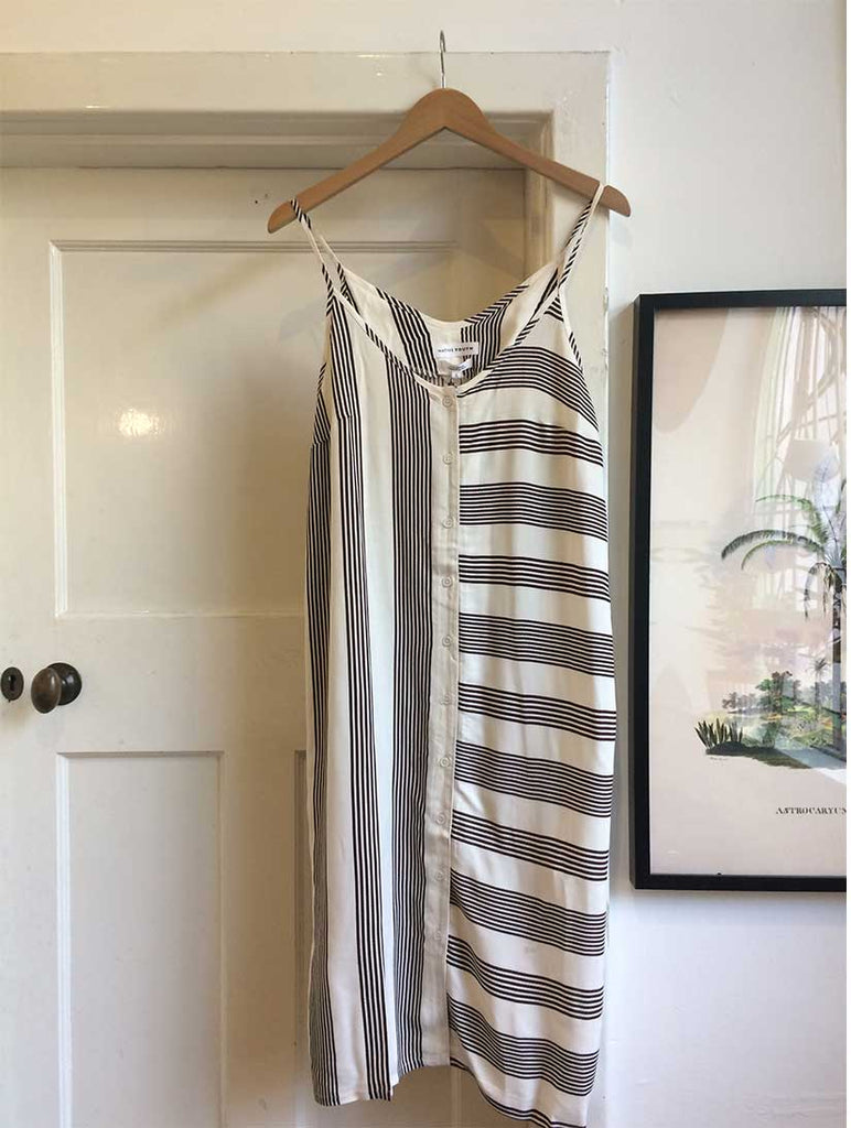Stripe Button Through Slip Dress